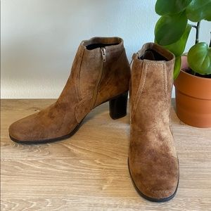 Franco Sarto Brown Suede Ankle Heeled Boots 8.5M